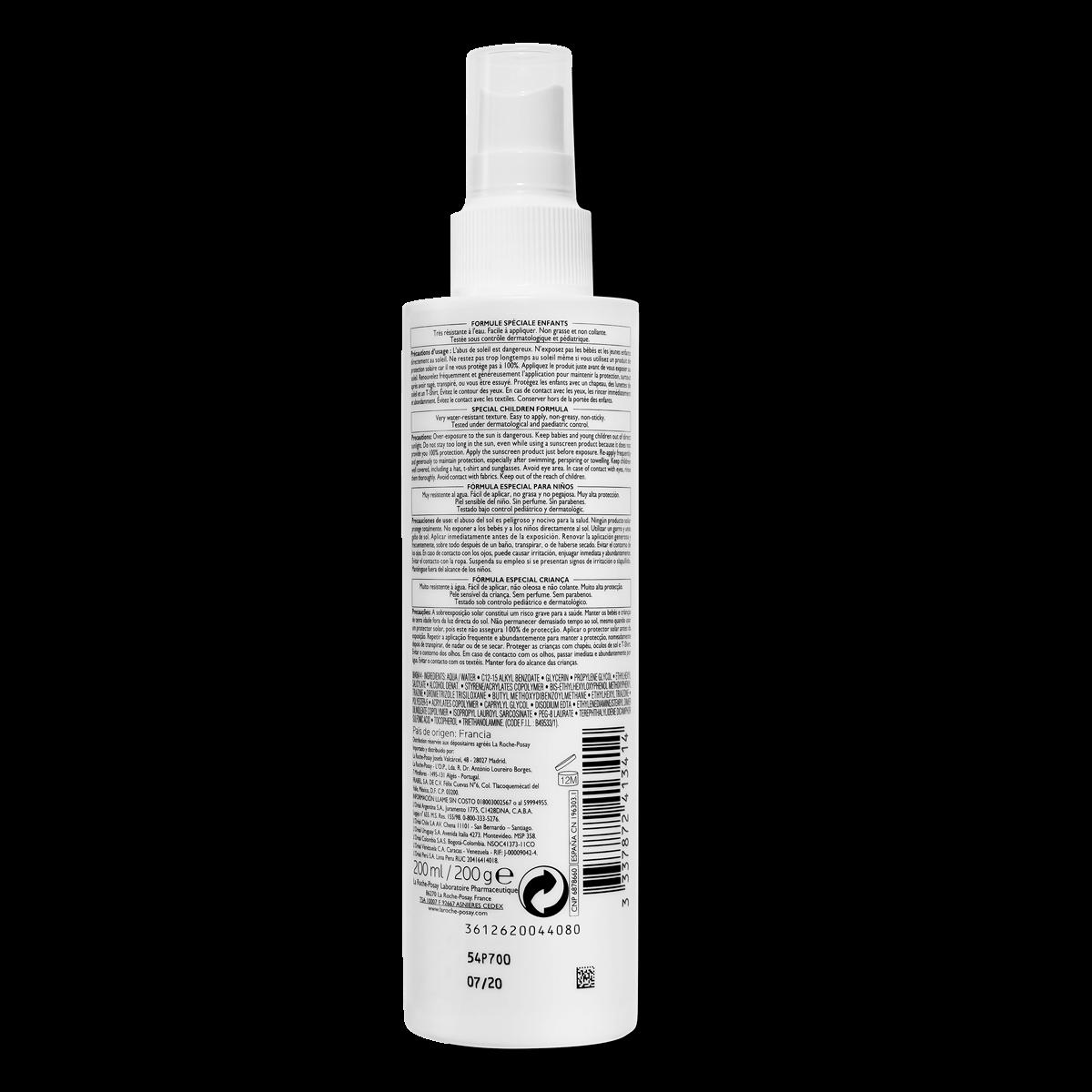 ANTHELIOS DERMO-PEDIATRICS NIEWIDOCZNY SPRAY SPF 50+ 200 ml przód | La Roche Posay
