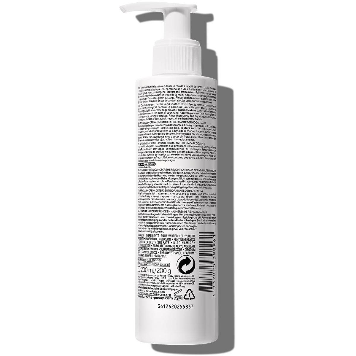 Effaclar h krem myjący EFFACLAR H KOJĄCO-NAWILŻAJĄCY KREM MYJĄCY 200 ml Tył | La Roche Posay