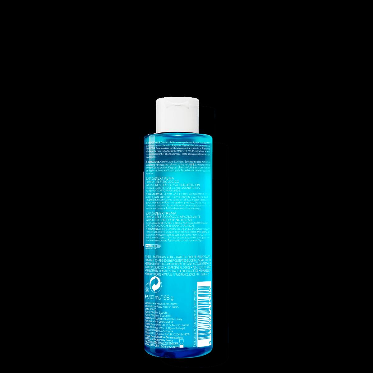 Kerium Extra Gentle Gel Shampoo 200 ml Tył | La Roche Posay